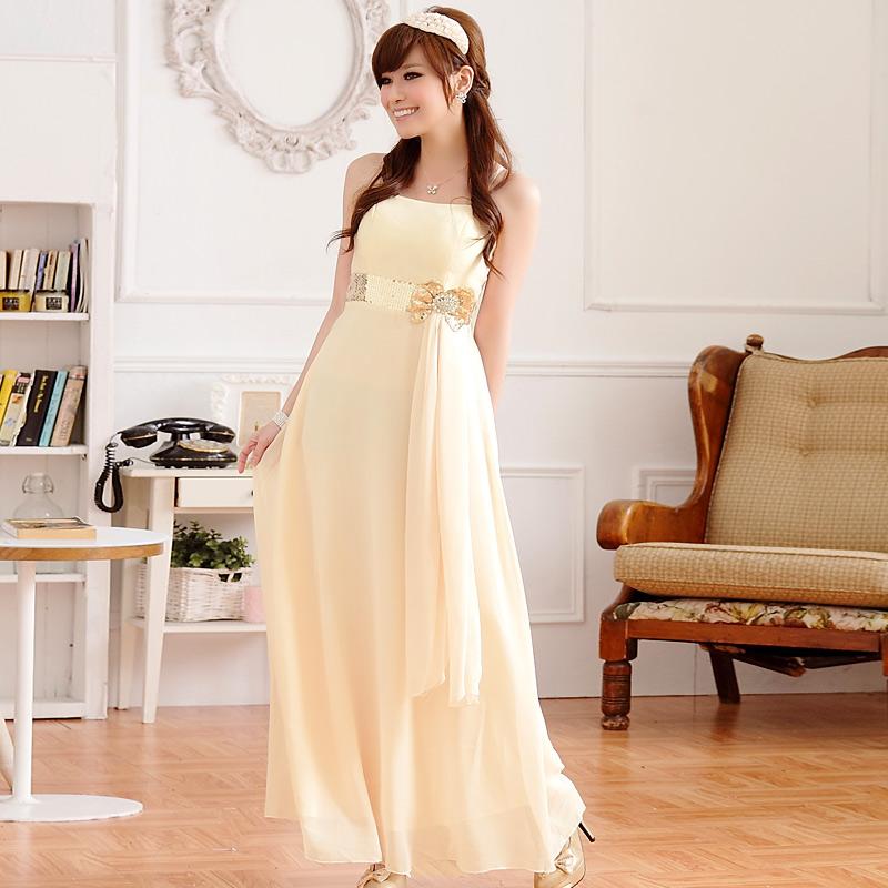 画像1: 大きいサイズあり!!欧米風☆スパンコール♪シフォンロングドレス☆カラー全3色/シャンパン・パープル・ブルー