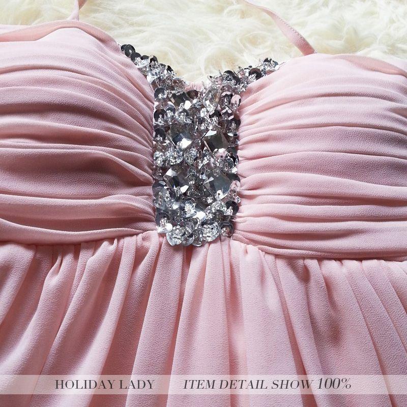 画像3: 大きいサイズあり!!結婚式♪パーティーに♪胸元輝くビジュ-付き☆ホルターネック☆シフォンドレスワンピース★カラー2色/ライトピンク・ローズピンク