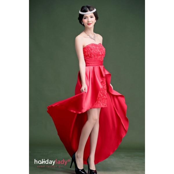 画像1: 大きいサイズあり!!結婚式♪パーティーに♪バラマーメードラインドレス☆カラー全3色/ライドベージュ・パープル・レッド