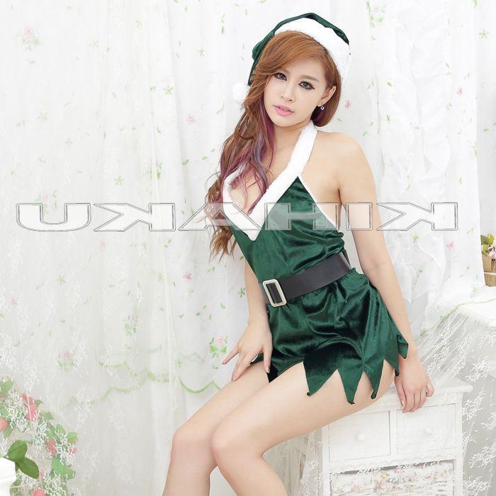 画像2: セクシー!ベルト付☆グリーンサンタ☆ミニドレス♪3点セット♪