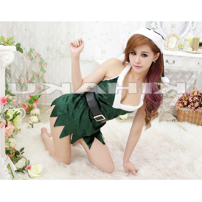 画像4: セクシー!ベルト付☆グリーンサンタ☆ミニドレス♪3点セット♪