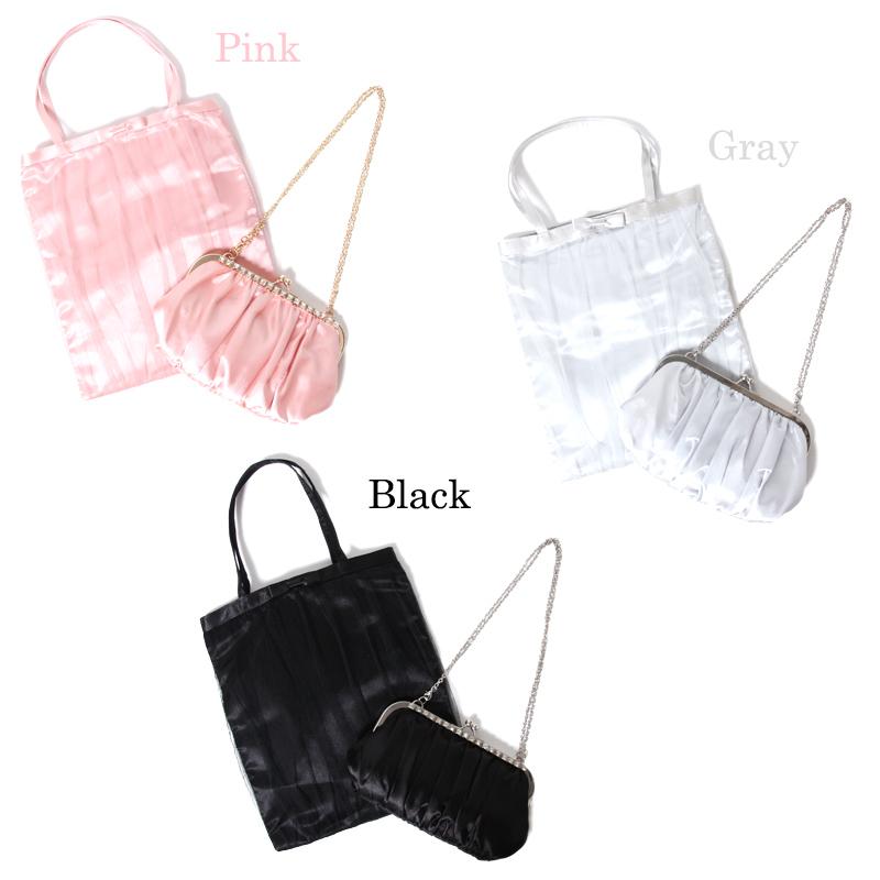 画像2: 【WEBEL】サブバッグ付サテンフォーマルバッグ★カラー全3色/ブラック・ホワイト・ピンク