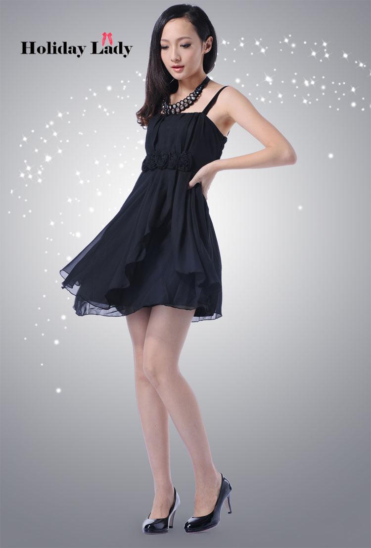 画像: ウエストバラ付き☆Aライン♪シフォンドレスワンピース☆カラー全4色/ブラック・ベージュ・ピンク・パープル