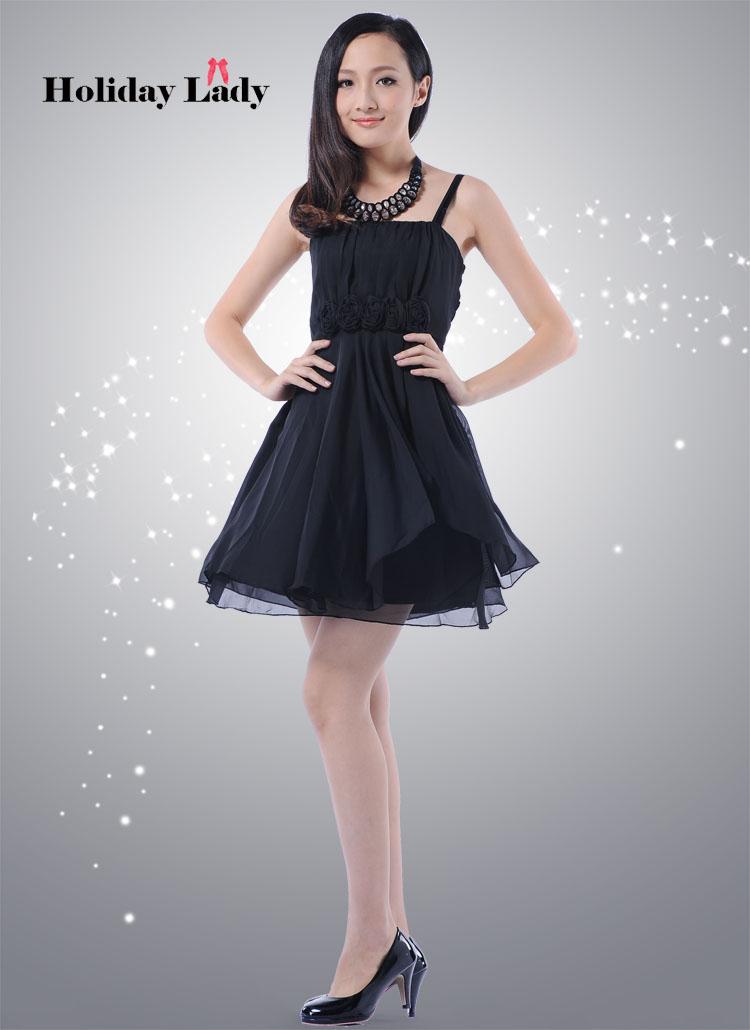 画像5: ウエストバラ付き☆Aライン♪シフォンドレスワンピース☆カラー全4色/ブラック・ベージュ・ピンク・パープル