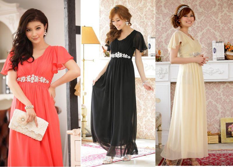 画像: 大きいサイズあり!!披露宴♪パーティーに♪上品Vネック☆ラインストーンダイヤ ロングドレス♪カラー全3色/ブラック・シャンパン・レッド
