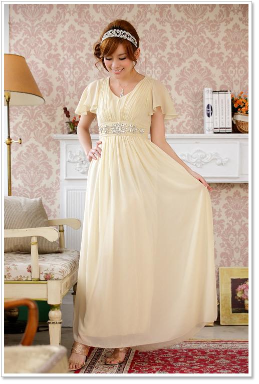 画像1: 大きいサイズあり!!披露宴♪パーティーに♪上品Vネック☆ラインストーンダイヤ ロングドレス♪カラー全3色/ブラック・シャンパン・レッド