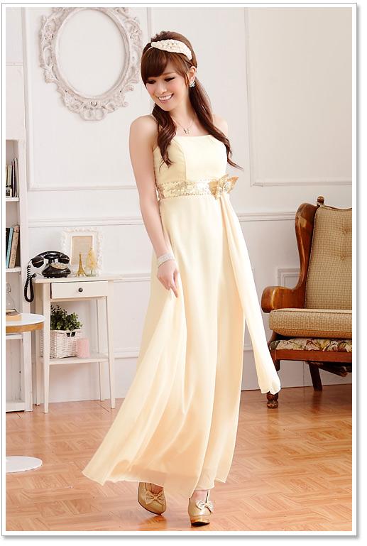 画像: 大きいサイズあり!!欧米風☆スパンコール♪シフォンロングドレス☆カラー全3色/シャンパン・パープル・ブルー