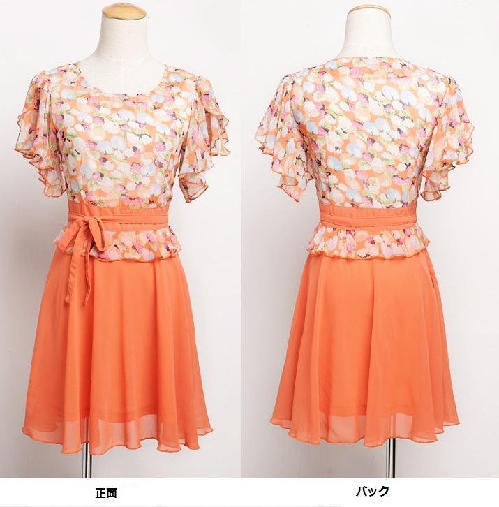 画像: 大きいサイズあり!!花柄☆シフォン♪ラッセルフリルスリーブワンピース♪カラー全3色/オレンジ・グリーン・ブラック